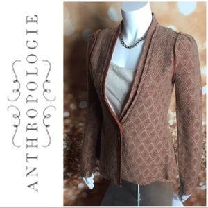 Anthropologie Tabitha Wool Blazer Botton XS Tan
